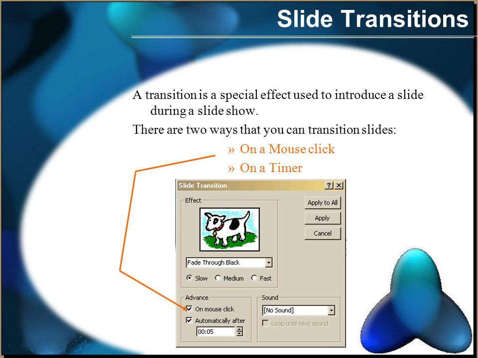 Slide Transitions Let s say you re doing a slide show.