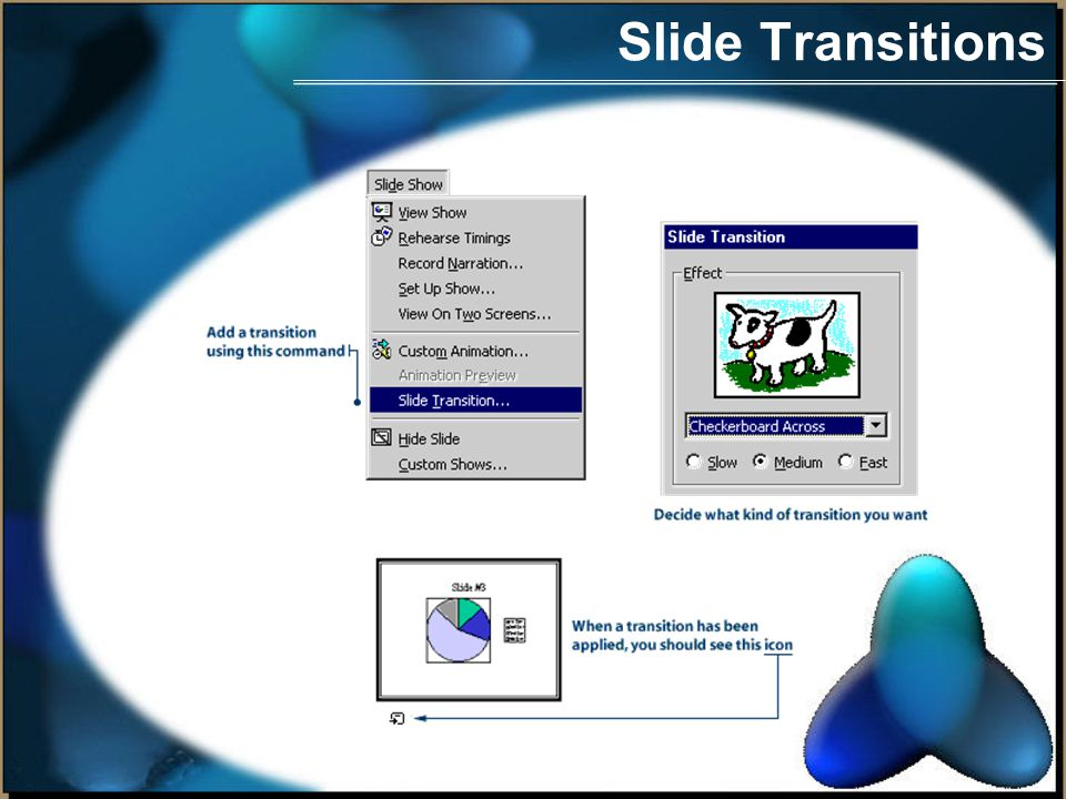 Slide Transitions A transition is a special effect used to introduce a slide during a slide show.