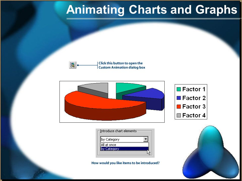 Animating Charts and Graphs Animating a chart You can make charts more interesting by animating them.