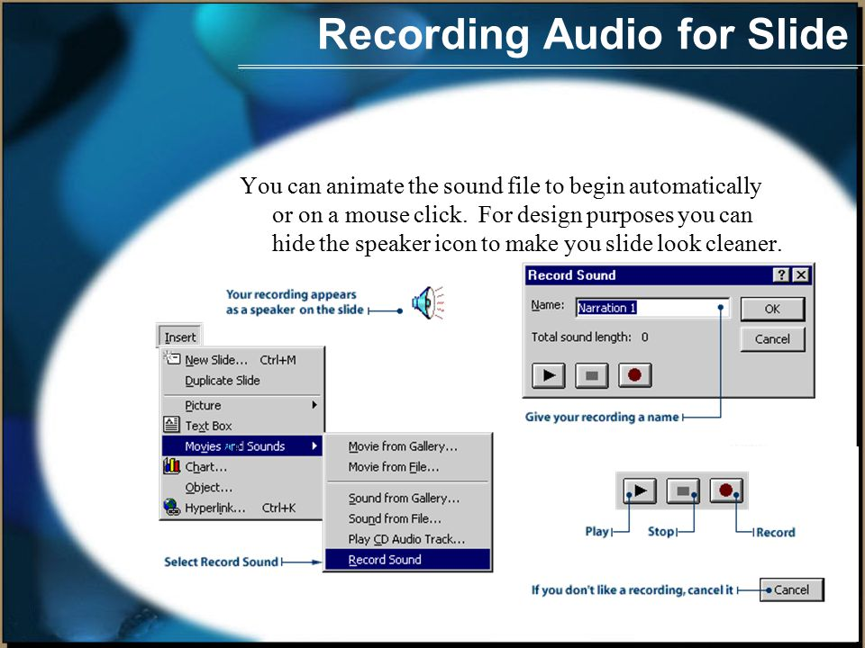 Audio for a slide Follow these steps to add your CD music files.