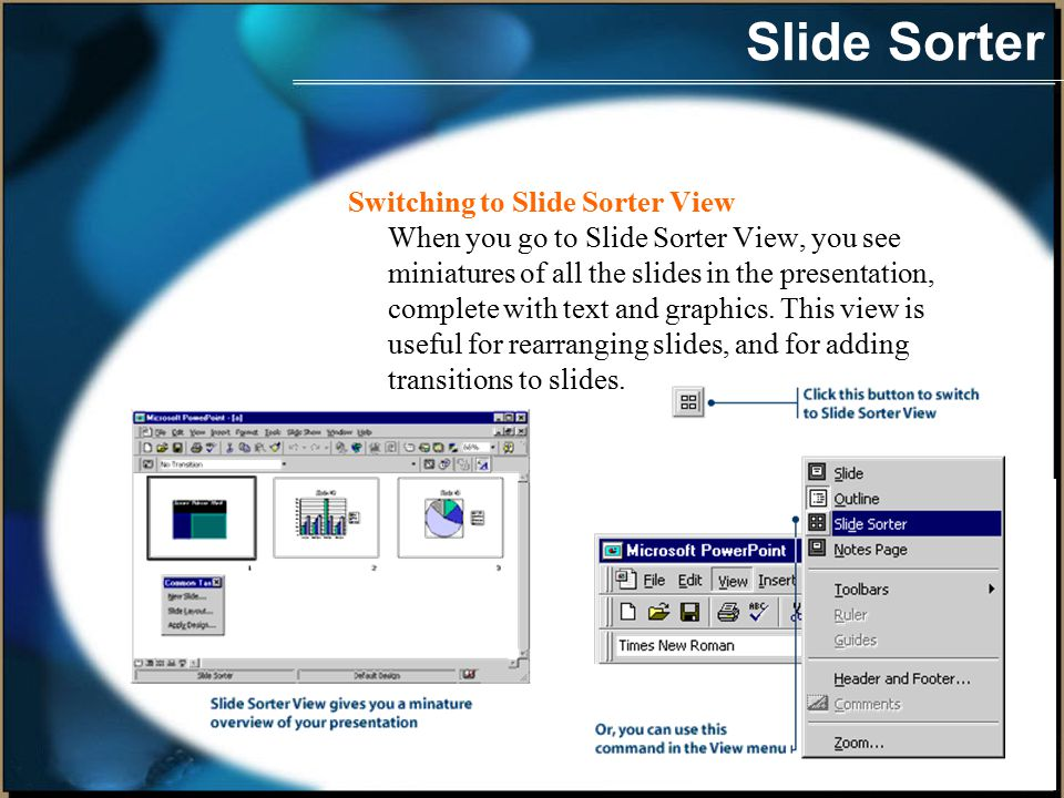 Slide Sorter Switching to Slide Sorter View When you go to Slide Sorter View, you see miniatures of all the slides in the presentation, complete with text and graphics.