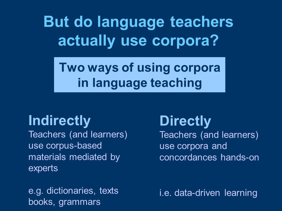 Two ways of using corpora in language teaching Indirectly Teachers (and learners) use corpus-based materials mediated by experts e.g. dictionaries, te