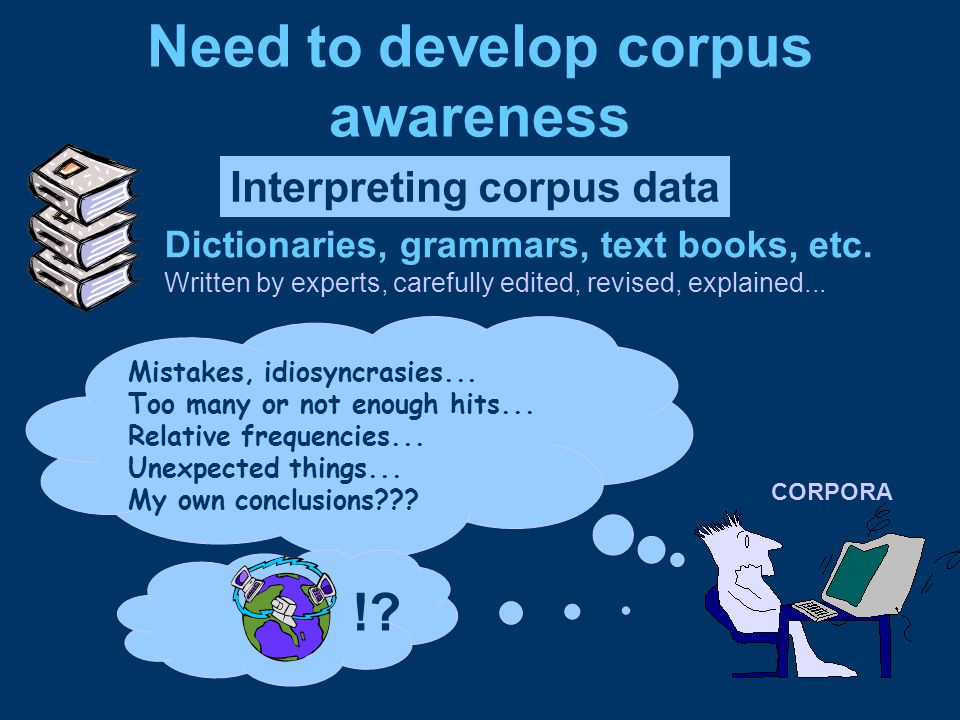 Need to develop corpus awareness Interpreting corpus data Dictionaries, grammars, text books, etc.