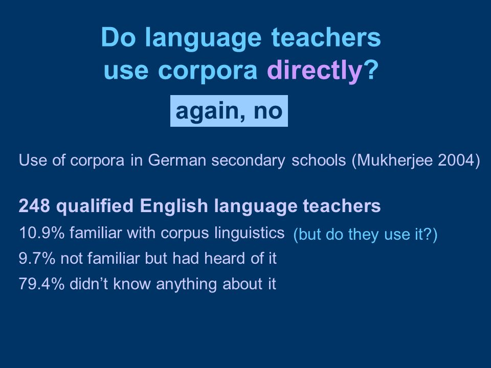 Do language teachers use corpora directly.