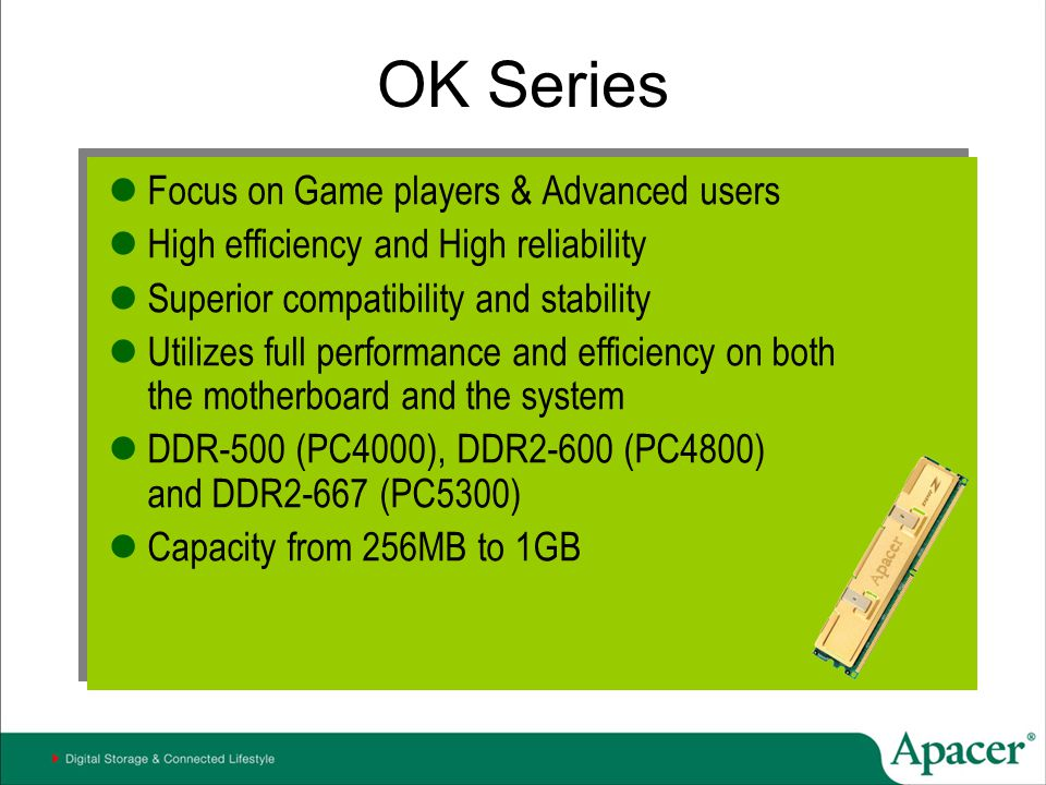 OK Series Focus on Game players & Advanced users High efficiency and High reliability Superior compatibility and stability Utilizes full performance a