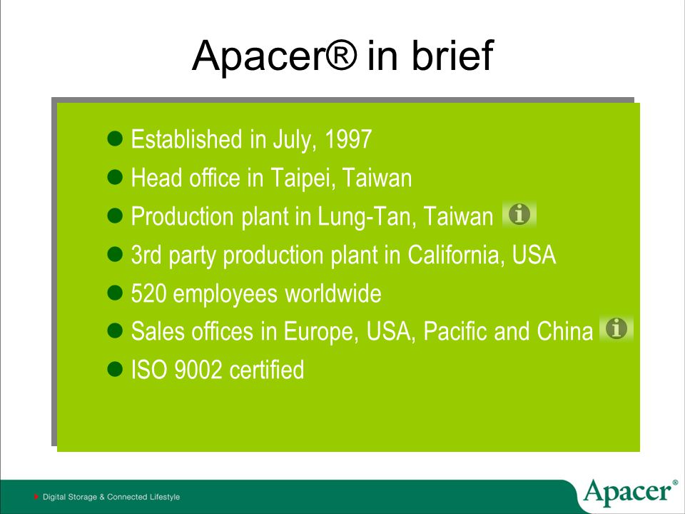 Apacer® in brief Established in July, 1997 Head office in Taipei, Taiwan Production plant in Lung-Tan, Taiwan 3rd party production plant in California