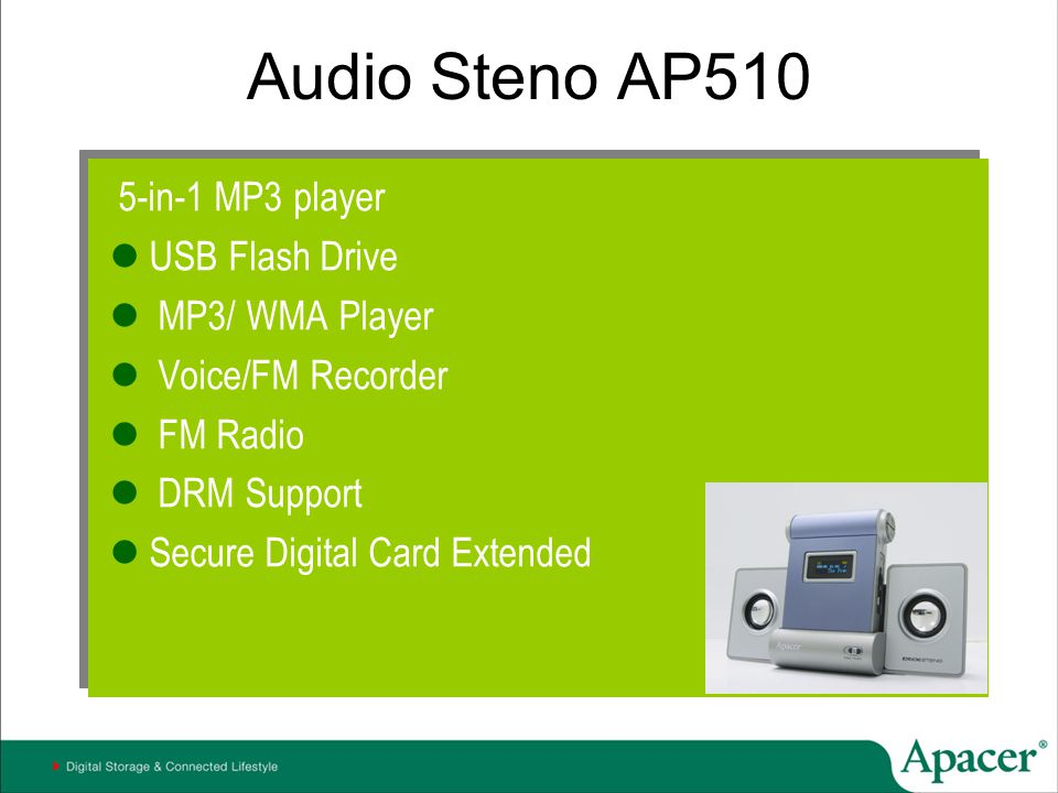 Audio Steno AP510 5-in-1 MP3 player USB Flash Drive MP3/ WMA Player Voice/FM Recorder FM Radio DRM Support Secure Digital Card Extended