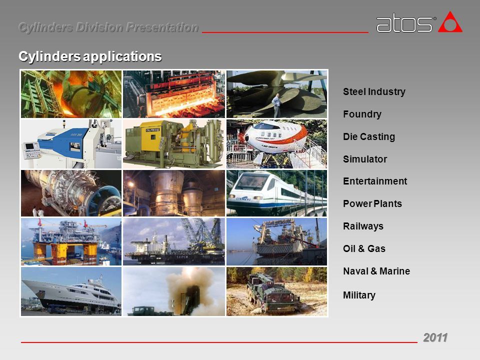 Steel Industry Foundry Die Casting Simulator Entertainment Power Plants Railways Oil & Gas Naval & Marine Military Cylinders applications