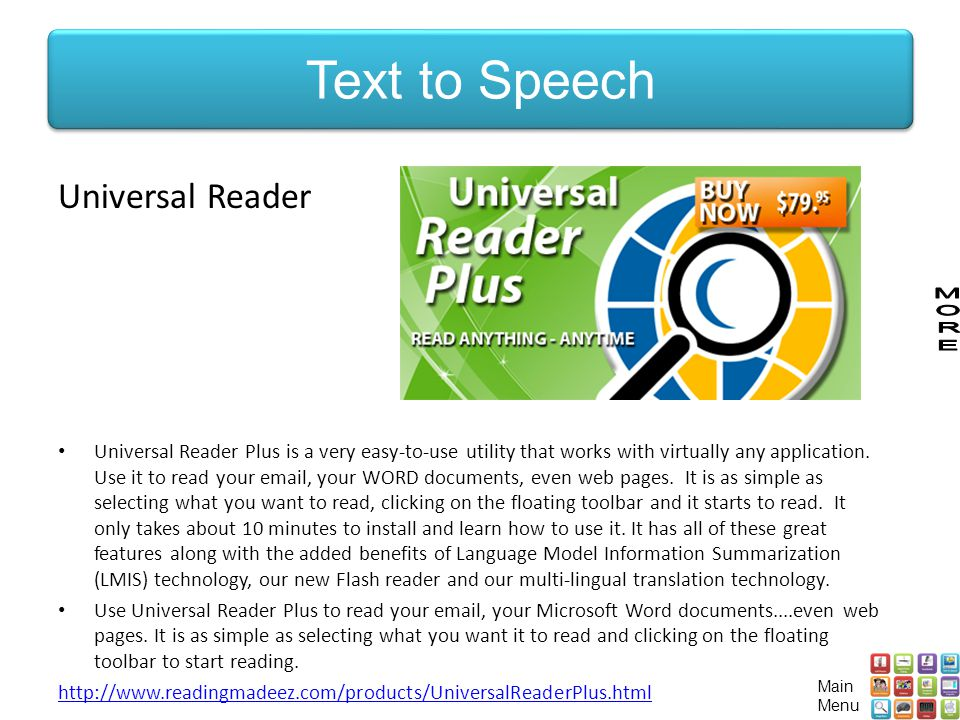 Universal Reader Universal Reader Plus is a very easy-to-use utility that works with virtually any application.