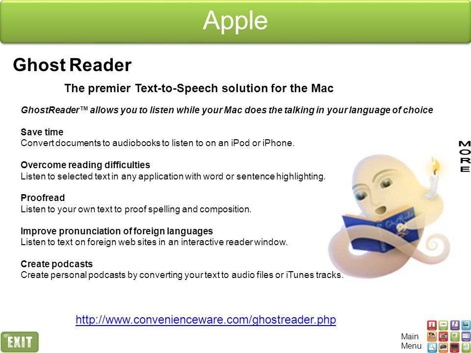 Apple Ghost Reader The premier Text-to-Speech solution for the Mac GhostReader™ allows you to listen while your Mac does the talking in your language of choice Save time Convert documents to audiobooks to listen to on an iPod or iPhone.