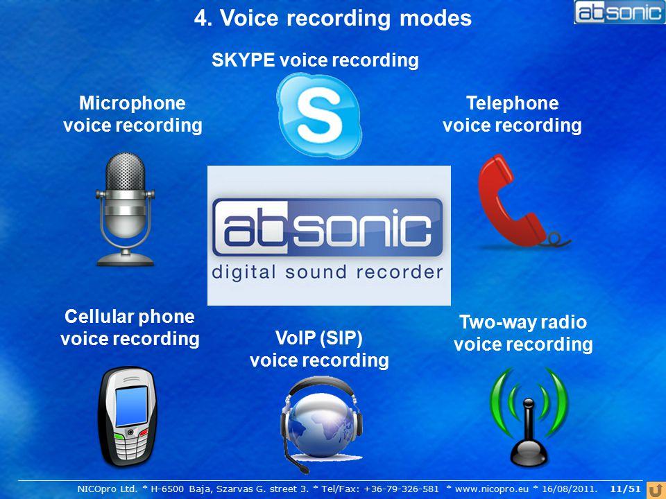 4. Voice recording modes Telephone voice recording Cellular phone voice recording Two-way radio voice recording Microphone voice recording SKYPE voice