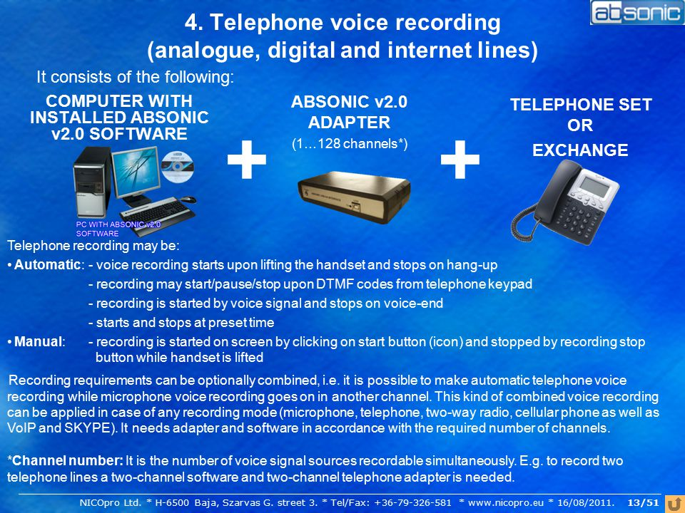 4. Telephone voice recording (analogue, digital and internet lines) COMPUTER WITH INSTALLED ABSONIC v2.0 SOFTWARE It consists of the following: ABSONI