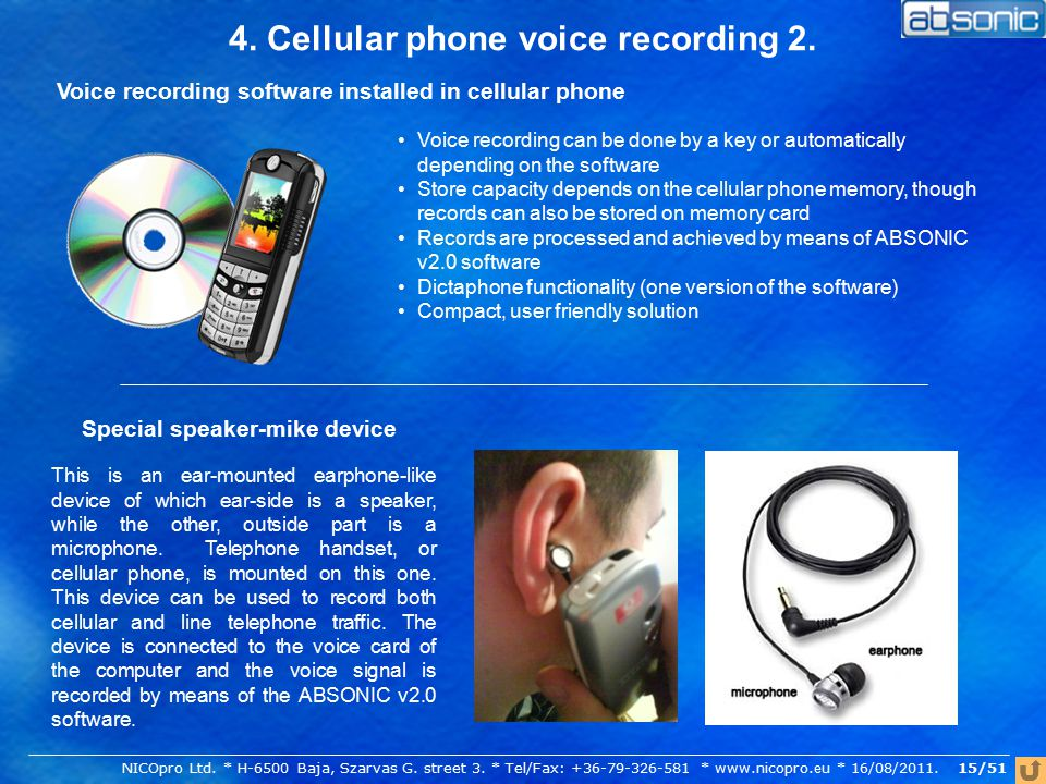 4. Cellular phone voice recording 2.