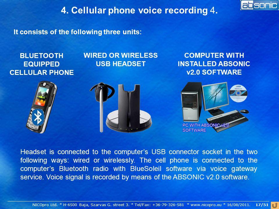 4. Cellular phone voice recording 4.