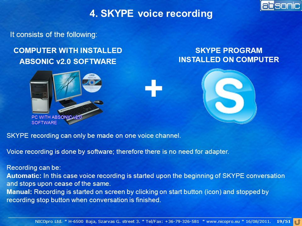 4. SKYPE voice recording It consists of the following: COMPUTER WITH INSTALLED ABSONIC v2.0 SOFTWARE + SKYPE PROGRAM INSTALLED ON COMPUTER SKYPE recor