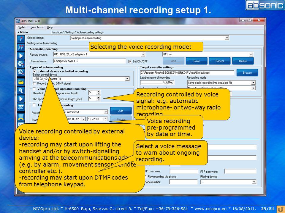 Multi-channel recording setup 1.