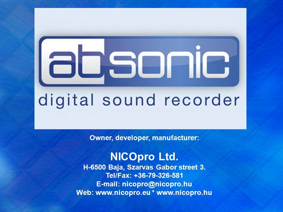 Owner, developer, manufacturer: NICOpro Ltd. H-6500 Baja, Szarvas Gabor street 3.