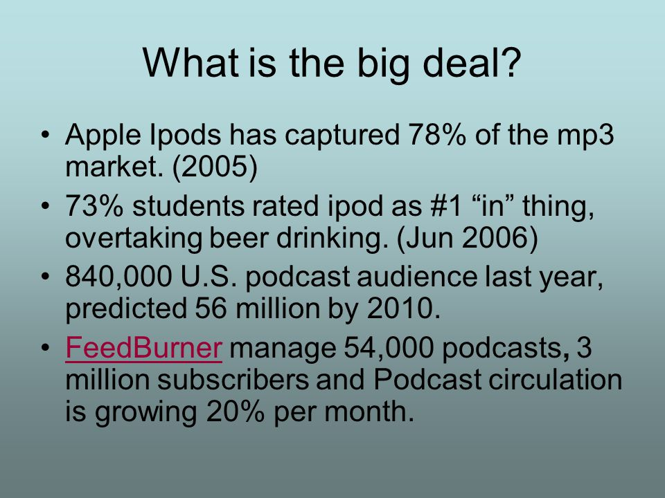 What is the big deal. Apple Ipods has captured 78% of the mp3 market.
