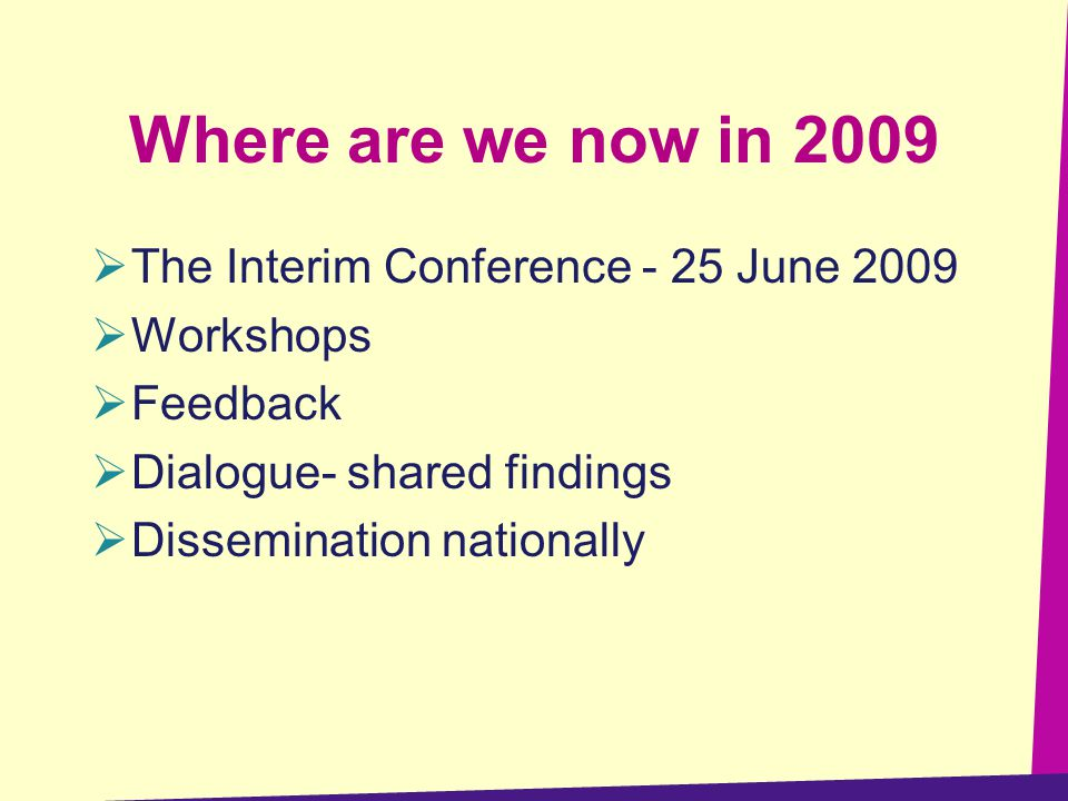 Where are we now in 2009  The Interim Conference - 25 June 2009  Workshops  Feedback  Dialogue- shared findings  Dissemination nationally