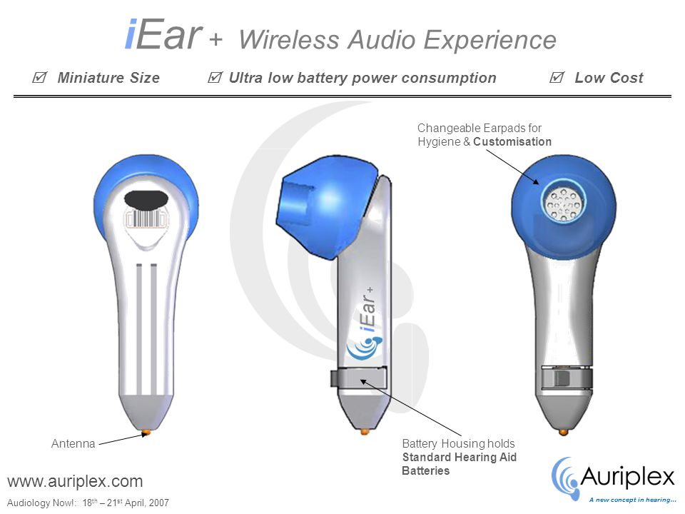 A new concept in hearing… Audiology Now!: 18 th – 21 st April, 2007 www.auriplex.com iEar + Wireless Audio Experience AntennaBattery Housing holds Standard Hearing Aid Batteries Changeable Earpads for Hygiene & Customisation  Miniature Size  Ultra low battery power consumption  Low Cost