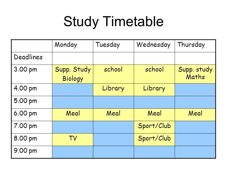 Study Timetable MondayTuesdayWednesdayThursday Deadlines 3.00 pmSupp. Study Biology school Supp. study Maths 4.00 pmLibrary 5.00 pm 6.00 pmMeal 7.00 p
