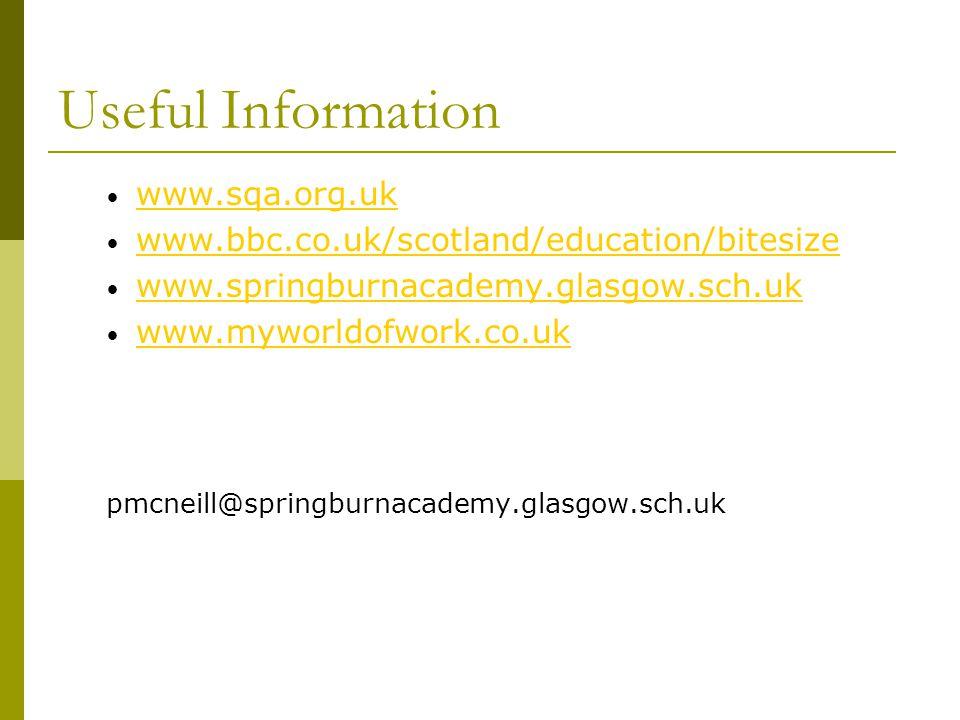 Useful Information www.sqa.org.uk www.bbc.co.uk/scotland/education/bitesize www.springburnacademy.glasgow.sch.uk www.myworldofwork.co.uk pmcneill@spri
