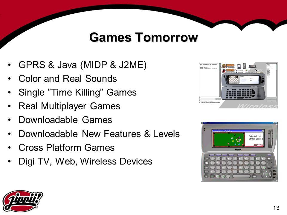 "13 Games Tomorrow GPRS & Java (MIDP & J2ME) Color and Real Sounds Single ""Time Killing"" Games Real Multiplayer Games Downloadable Games Downloadable N"