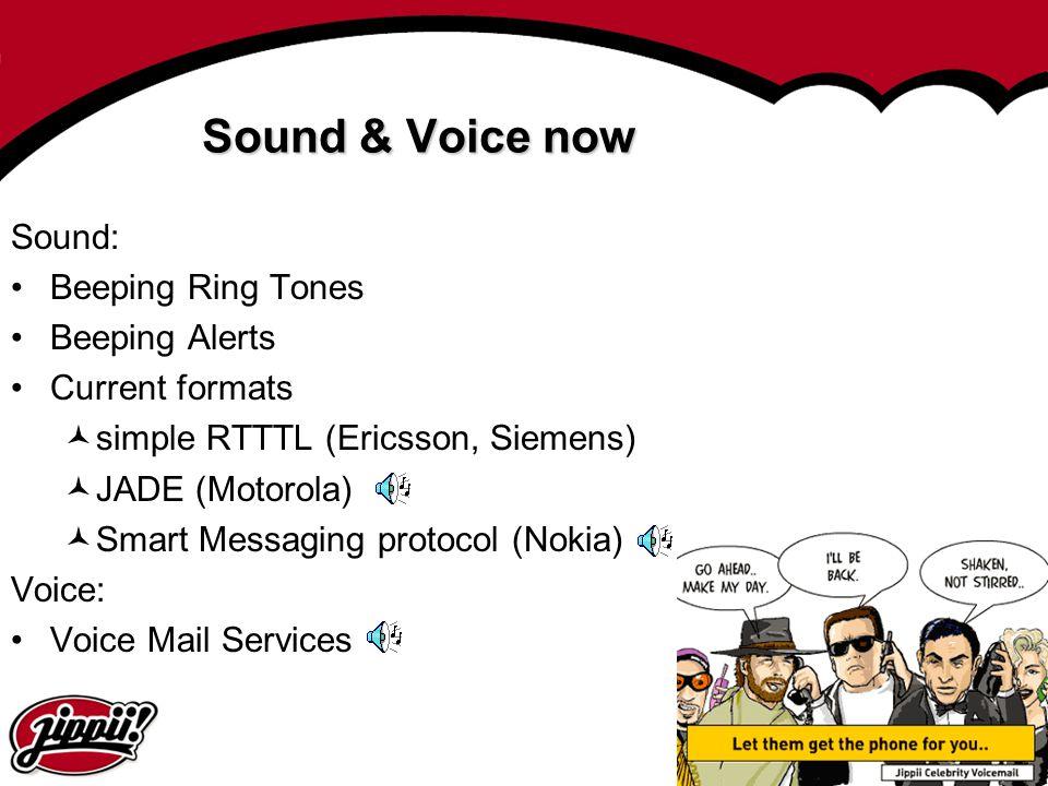 8 Sound & Voice now Sound: Beeping Ring Tones Beeping Alerts Current formats simple RTTTL (Ericsson, Siemens) JADE (Motorola) Smart Messaging protocol