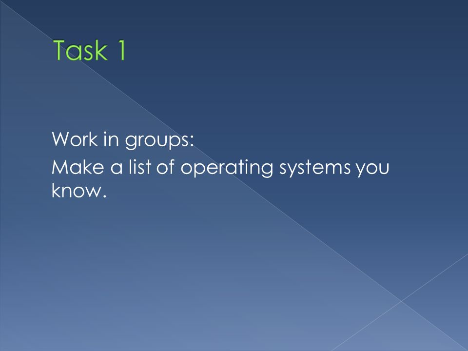 Work in groups: Make a list of operating systems you know.