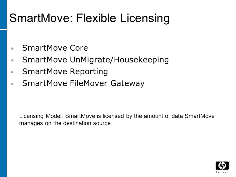 SmartMove Core SmartMove UnMigrate/Housekeeping SmartMove Reporting SmartMove FileMover Gateway Licensing Model: SmartMove is licensed by the amount o
