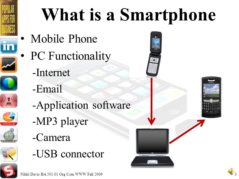 Smartphones in Business Overview What is a Smartphone History of Hand-held Devices Applications for Business Smartphone Data Success Stories Nikki Davis BA Org Com WWW Fall 20092