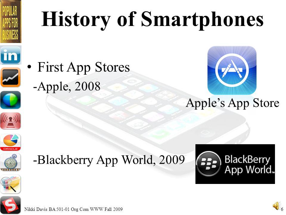 The History of Smartphones Nikki Davis BA 501-01 Org Com WWW Fall 2009 5 Simon First Smartphones -Simon, 1992 -Nokia Communicator, 1996 Nokia Communicator
