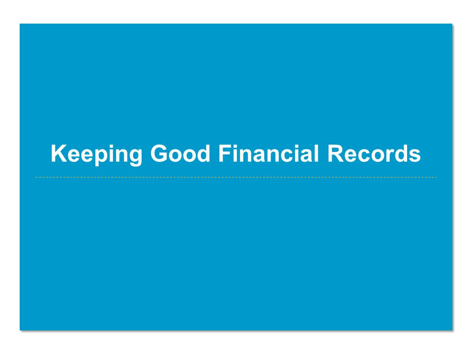 Keeping Good Financial Records