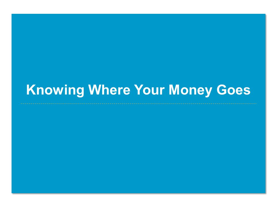 Knowing Where Your Money Goes