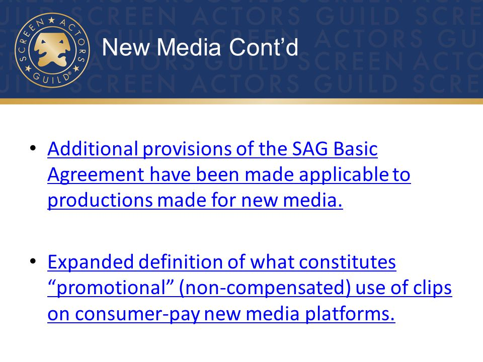 Major Role Minimum now applies to certain pay television programs.