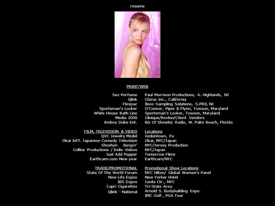 resume PRINT/WEB Sex Perfume Qlink Flexpac Sportsman s Locker White House Bath Line Media 2000 Amboy Duke Ent.