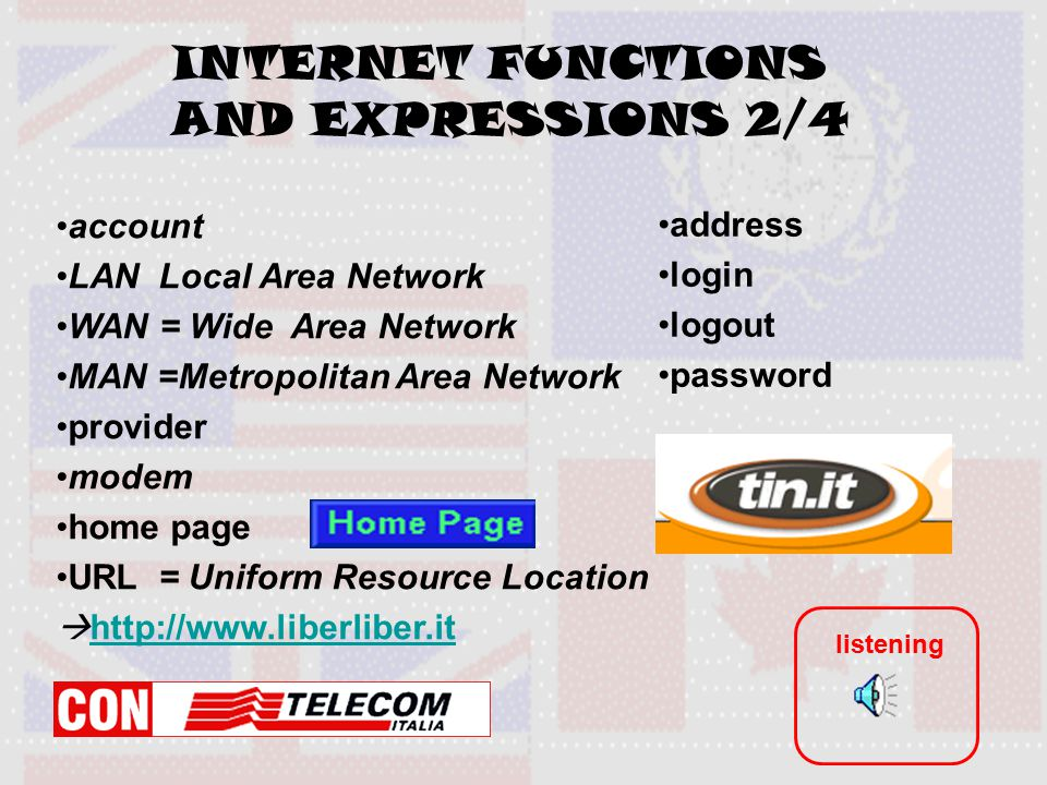 INTERNET FUNCTIONS AND EXPRESSIONS 2/4 account LAN Local Area Network WAN = Wide Area Network MAN =Metropolitan Area Network provider modem home page URL = Uniform Resource Location  http://www.liberliber.it http://www.liberliber.it address login logout password listening