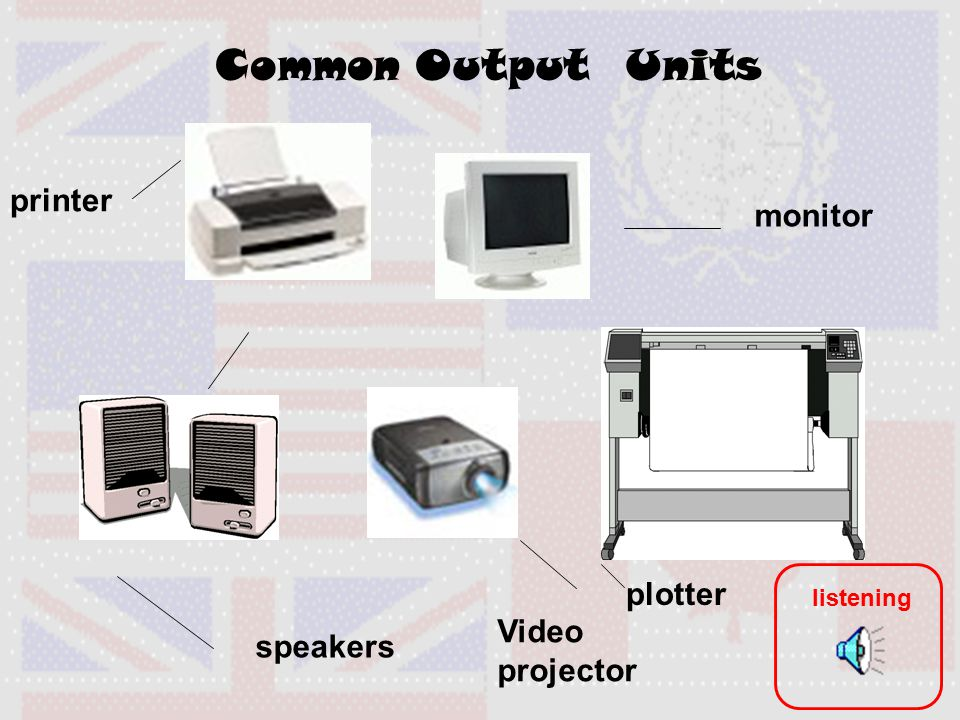 Common Output Units printer monitor speakers Video projector plotter listening