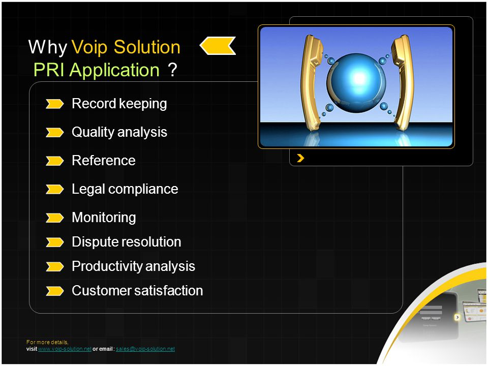 Record keeping Quality analysis Reference Legal compliance Monitoring Dispute resolution Productivity analysis Customer satisfaction Why Voip Solution PRI Application .