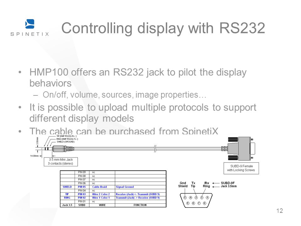12 Controlling display with RS232 HMP100 offers an RS232 jack to pilot the display behaviors –On/off, volume, sources, image properties… It is possibl