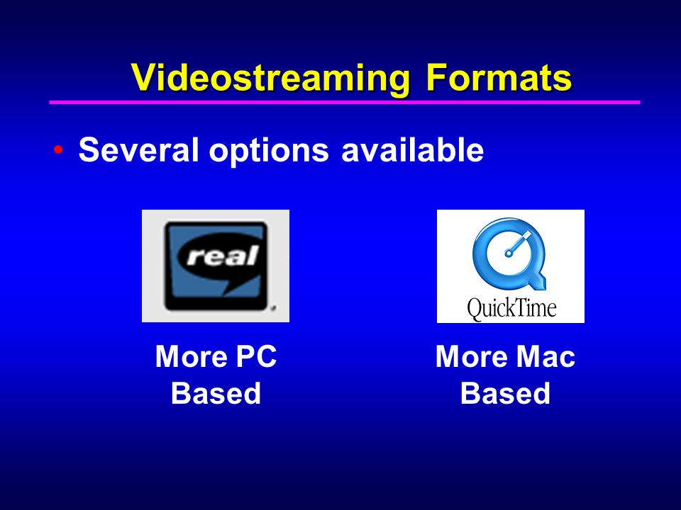 Videostreaming Formats Several options available More PC Based More Mac Based