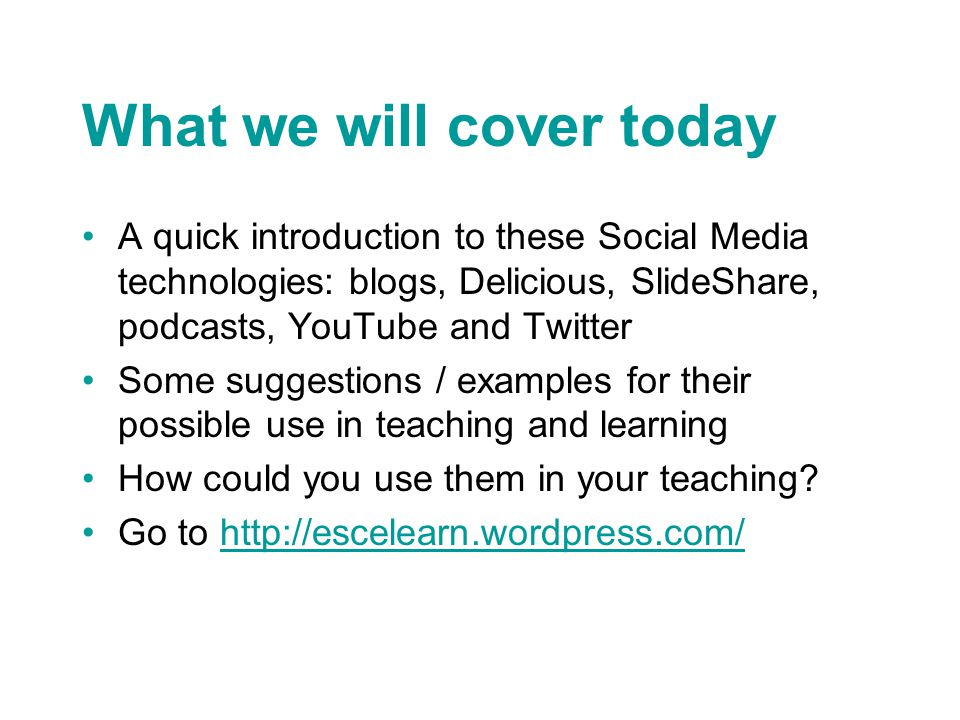Twitter - an example Follow everything published from the Intute: Education section plus blog postseverything published from the Intute: Education section Also follow other organisations such as Education Week, Futurelab, BBC Education and individual academics 7 things you should know about Twitter by EDUCAUSE http://educause.edu/ir/library/pdf/ELI7027.pdf