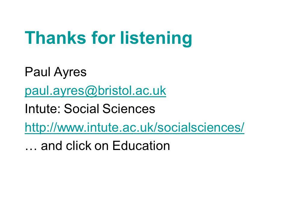 Thanks for listening Paul Ayres paul.ayres@bristol.ac.uk Intute: Social Sciences http://www.intute.ac.uk/socialsciences/ … and click on Education