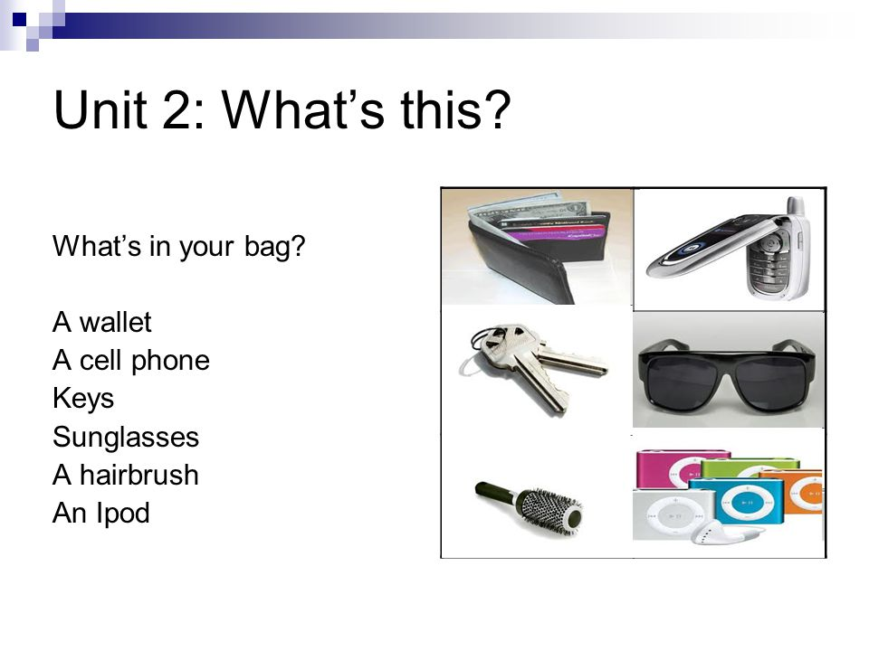 Unit 2: What's this? What's in your bag? A wallet A cell phone Keys Sunglasses A hairbrush An Ipod