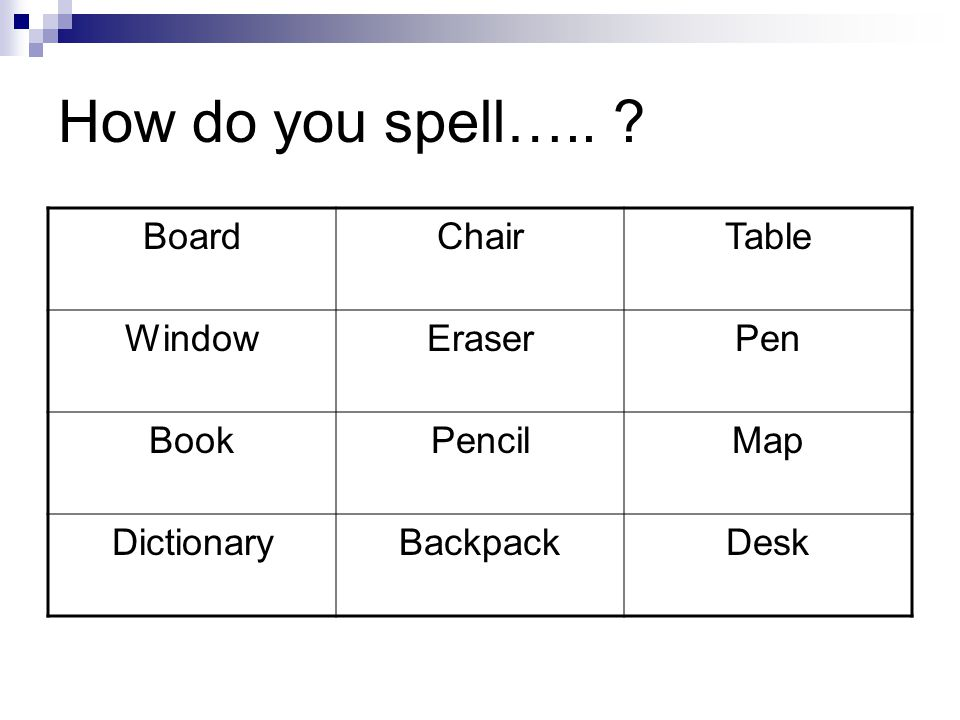 How do you spell….. BoardChairTable WindowEraserPen BookPencilMap DictionaryBackpackDesk