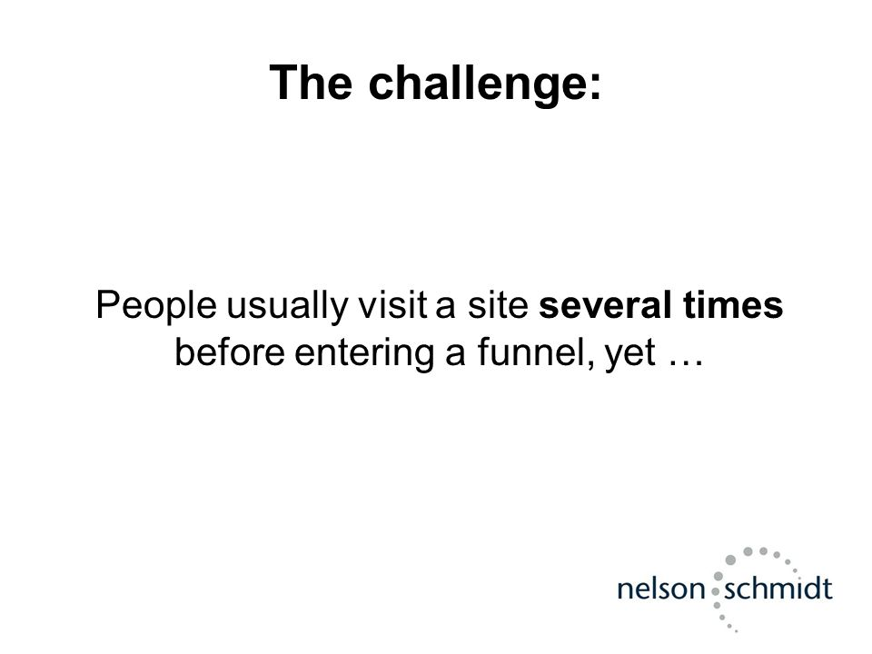 The challenge: People usually visit a site several times before entering a funnel, yet …