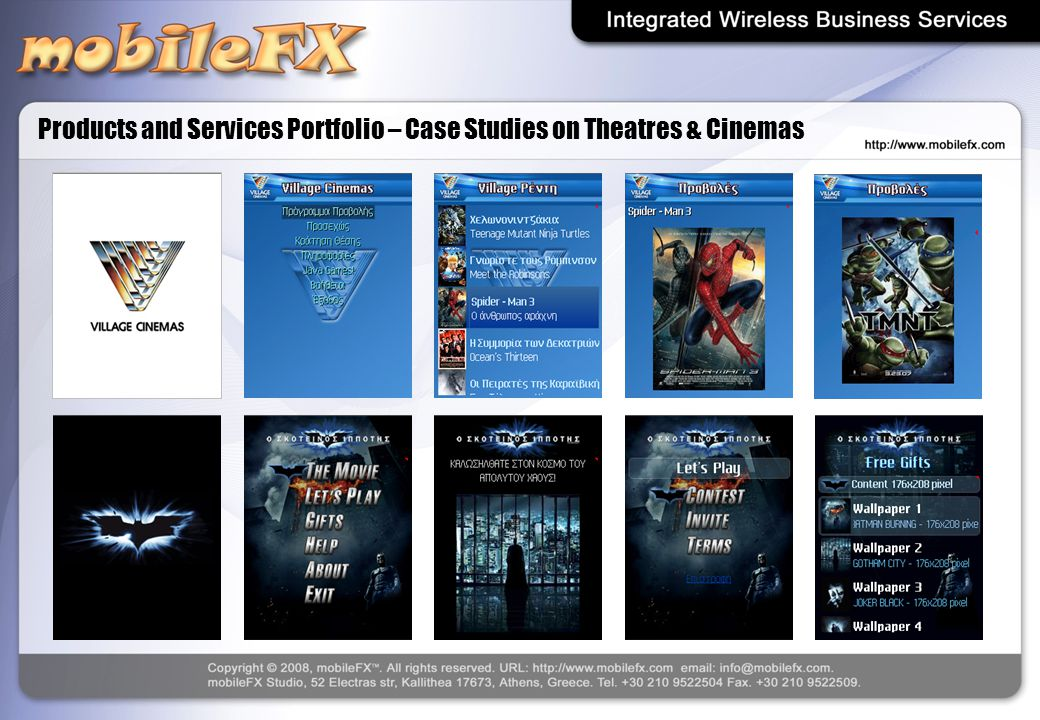 Products and Services Portfolio – Case Studies on Theatres & Cinemas
