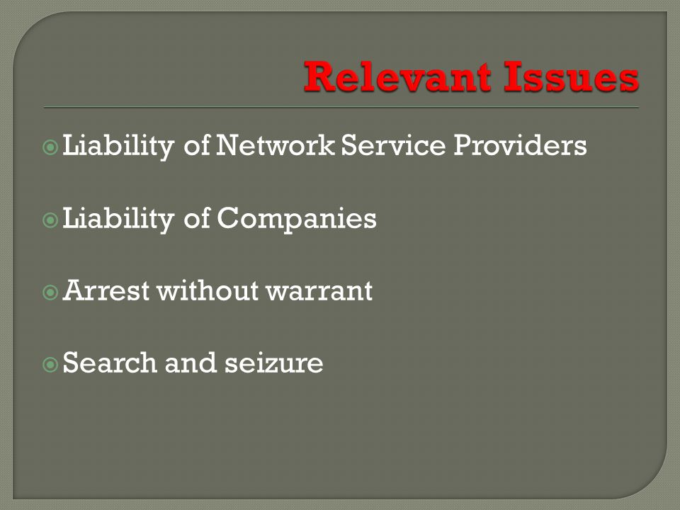  Liability of Network Service Providers  Liability of Companies  Arrest without warrant  Search and seizure