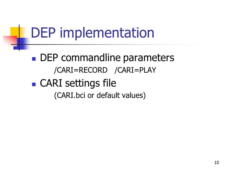 10 DEP implementation DEP commandline parameters /CARI=RECORD /CARI=PLAY CARI settings file (CARI.bci or default values)