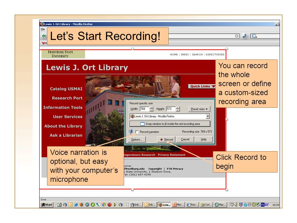 As you record, Captivate follows your mouse movements.